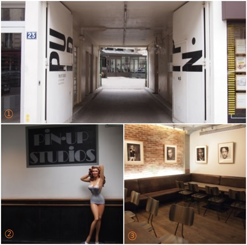 1. 파리핀업스튜디오 입구 2. 스튜디오 내부 3. 스튜디오 레스토랑