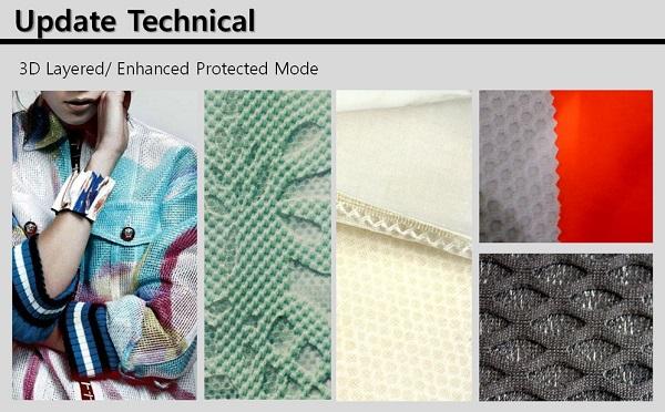 Update Technical은 매시를 응용한 3D 레이어 소재가 본딩 기술과 직조 방법에 따라 다양하게 제안된다.