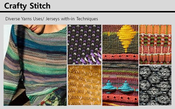 Crafty Stitch는 남반구 중남미 지역의 감성을 모티브로 수공예적인 조직 표현을 나타낸다. 강한 컬러를 포인트로 사용하거나 패턴에 적용해 그들의 문화를 대변한다.