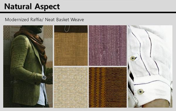Natural Aspect는 천연 느낌의 원사(Flax, Ramie, Jute, Hemp)를 심플한 캔버스 및 스트라이프 등에 적용해 심플한 느낌으로 제안한다.