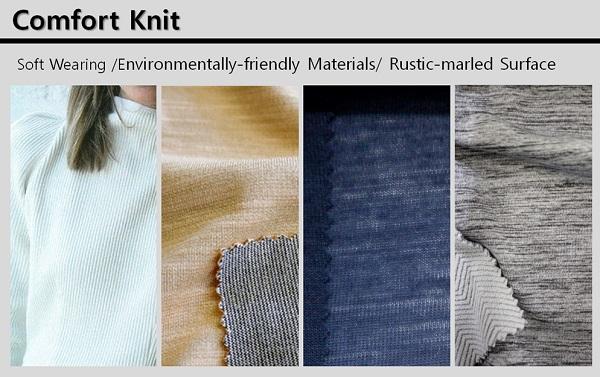 Comfort Knit는 러스틱 슬럽 및 친환경 원사를 활용한 멜란지 효과의 자연스러운 표면감을 강조한다. 더블 니트가 중시돼 다양한 중량으로 제안되며 상의, 하의, 원피스 등 다양한 아이템에 활용된다.