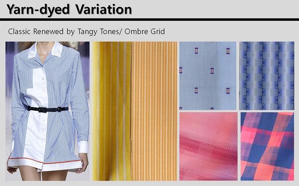 Yarn-dyed Variation은 기존의 셔츠 소재가 클래식한 스트라이프, 옴브레 체크무늬 등 다양한 패턴을 활용한다.