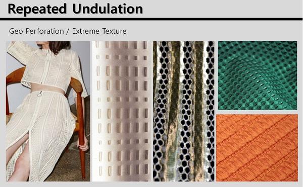 Repeated Undulation은 새로운 감각의 레이저 커팅과 광택 원사를 사용해 반복적이면서도 그래픽적인 효과를 통해 미래적인 느낌을 선사한다.