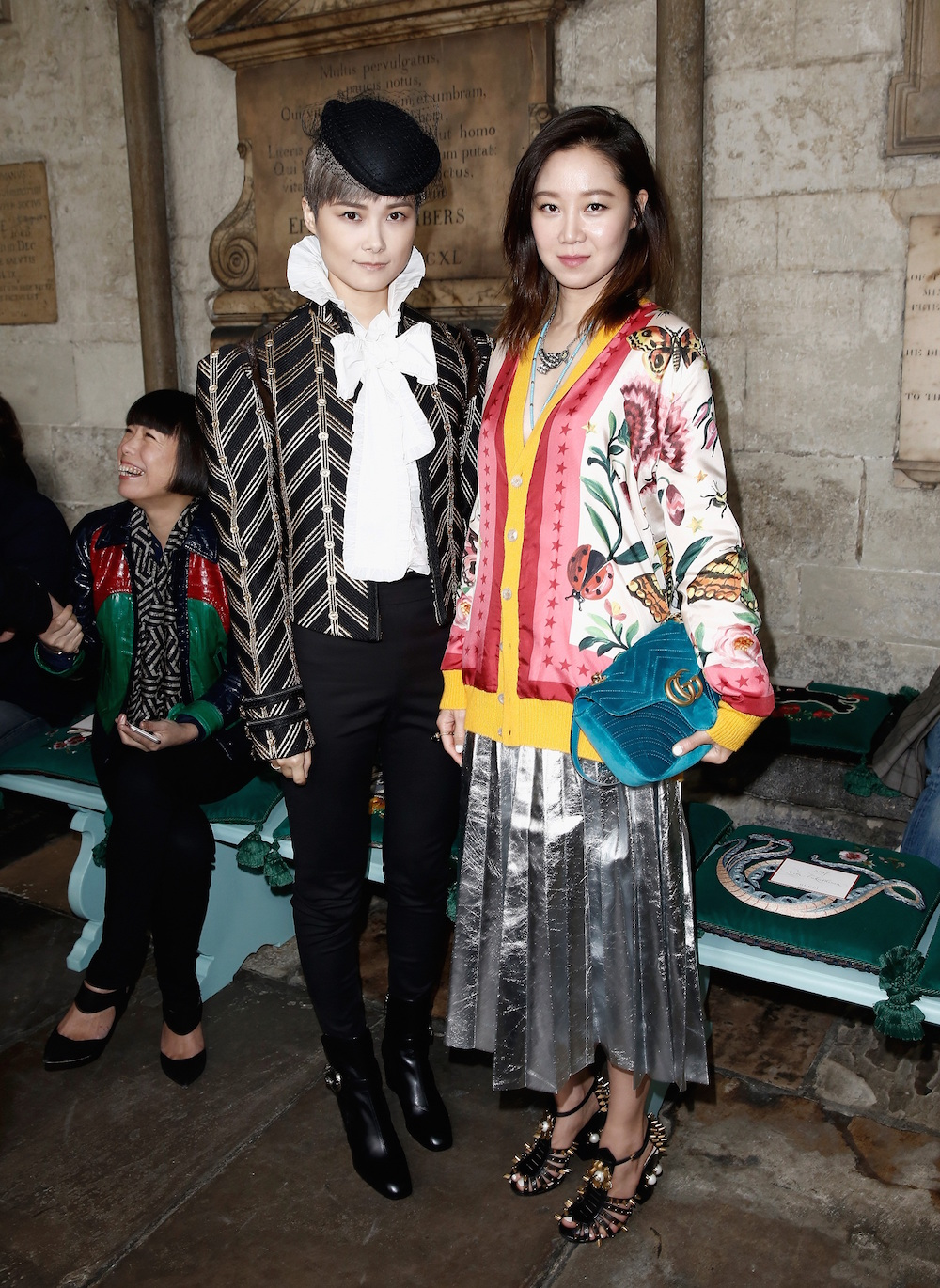 LONDON, ENGLAND - JUNE 02: Chris Lee (L) and Kong Hyo Jin attend the Gucci Cruise 2017 fashion show at the Cloisters of Westminster Abbey on June 2, 2016 in London, England. (Photo by John Phillips/Getty Images for GUCCI)