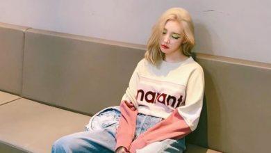 Photo of 선미,  뉴트로 컬러 맨투맨으로 완성한 '꾸안꾸룩'